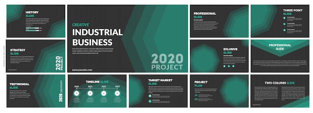 Plantilla de diapositivas verde creativo multipropósito