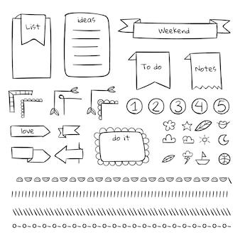 Plantilla de diario de viñetas de bordes y páginas
