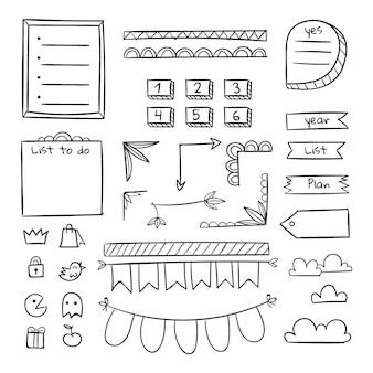 Plantilla de diario de viñetas de números y formas