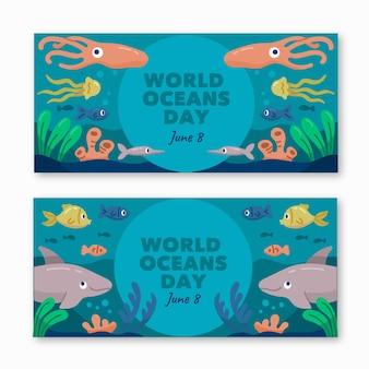 Plantilla dibujada de banners del día mundial de los océanos