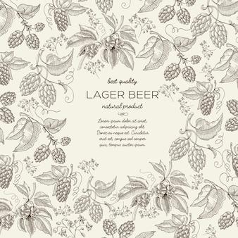 Plantilla dibujada a mano botánica floral con texto y ramas de lúpulo de hierbas de cerveza en la luz