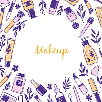 Plantilla dibujada a mano con cosmética de belleza de maquillaje