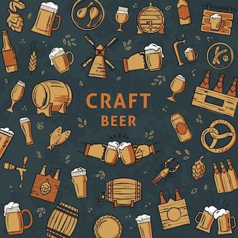 La plantilla dibujada a mano de iconos de colores sobre el tema de la cerveza.
