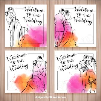 Plantilla dibujada a mano de invitación de boda