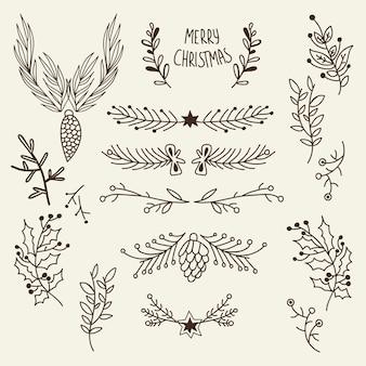 Plantilla dibujada a mano natural de navidad con conos de ramas de árbol y bayas de acebo en ilustración gris