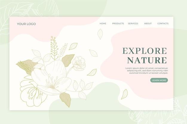 Plantilla dibujada a mano de la página de aterrizaje de la naturaleza
