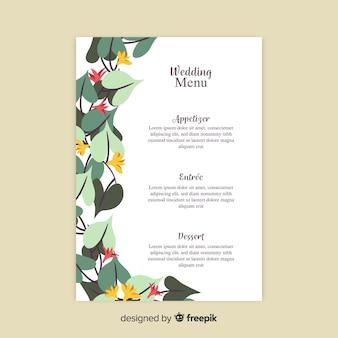 Plantilla dibujada de menú de boda