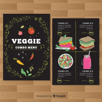 Plantilla dibujada de menú de restaurante vegetariano
