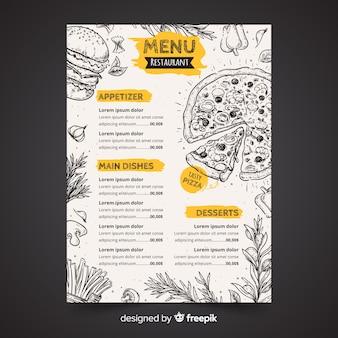 Plantilla dibujada de menú de restaurante