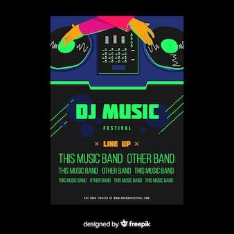 Plantilla dibujada de poster de festival de música