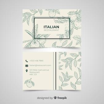 Plantilla dibujada de tarjeta de visita de restaurante