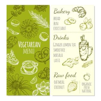 Plantilla de dibujo de menú vegetariano con alimentos naturales, bebidas saludables y frutas orgánicas frescas