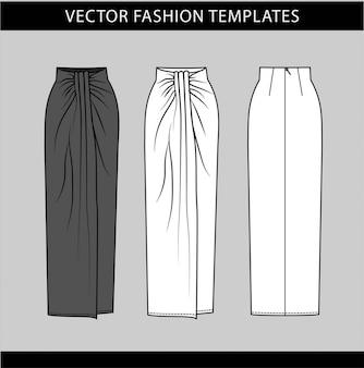 Plantilla de dibujo plano de moda de falda