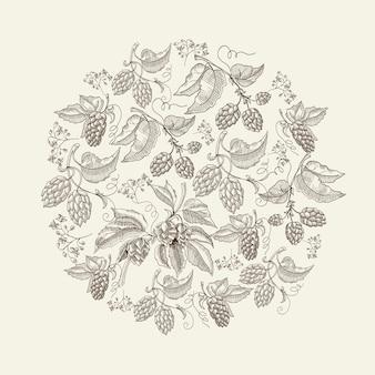 Plantilla de dibujo redondo natural abstracto con plantas de lúpulo de hierbas orgánicas de cerveza en la luz