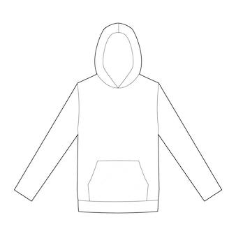 Plantilla de dibujo técnico plano de moda hoody