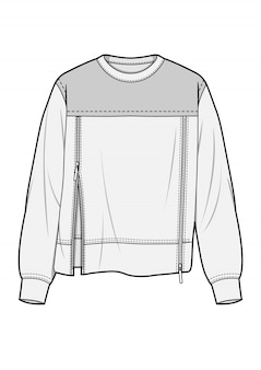Plantilla de dibujo técnico plano de moda top
