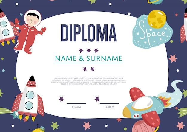 Plantilla de dibujos animados de diploma