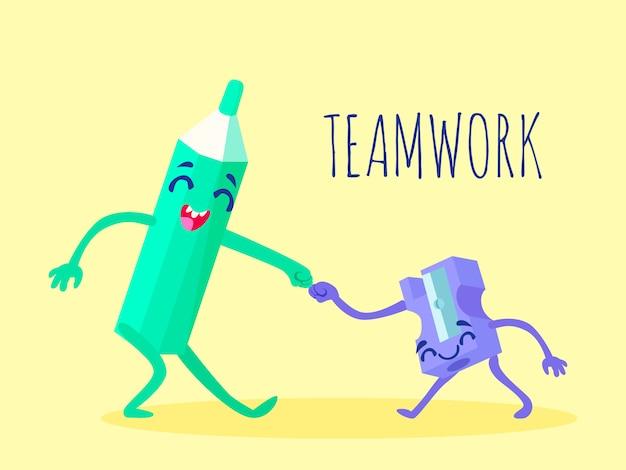 Plantilla de dibujos animados divertidos suministros de oficina con lápiz feliz
