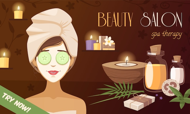 Plantilla de dibujos animados de spa salón de belleza