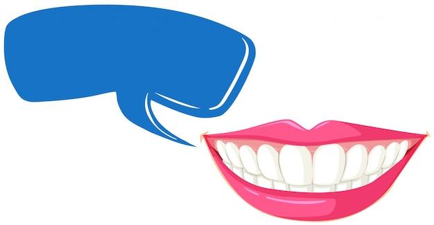 Plantilla de dientes limpios y bocadillo de diálogo