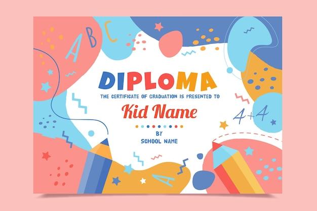 Plantilla de diploma abstracto para niños