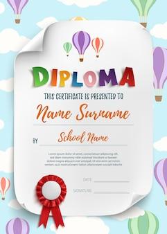 Plantilla de diploma para antecedentes de certificado de niños. ilustración.