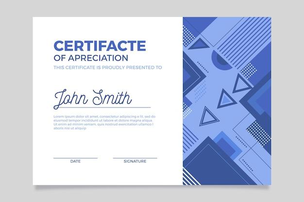 Plantilla de diploma azul abstracto