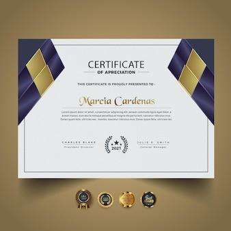 Plantilla de diploma de certificado nuevo inteligente