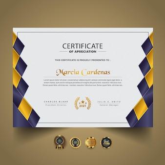 Plantilla de diploma de certificado nuevo moderno