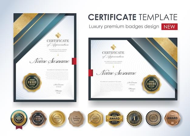 Plantilla de diploma certificado premium
