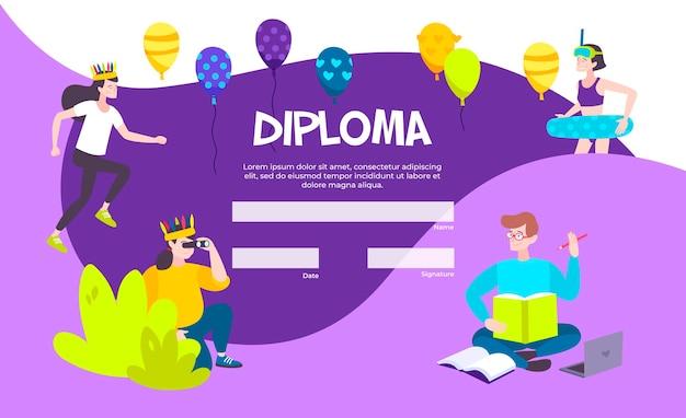 Plantilla de diploma colorido con ilustración de burbujas de discurso en blanco