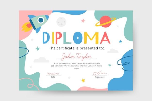 Plantilla de diploma para concepto de niños