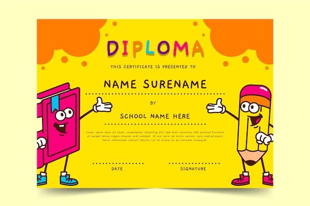 Plantilla de diploma para diseño infantil