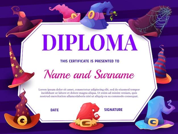 Plantilla de diploma de escuela de educación con sombreros de bruja de dibujos animados