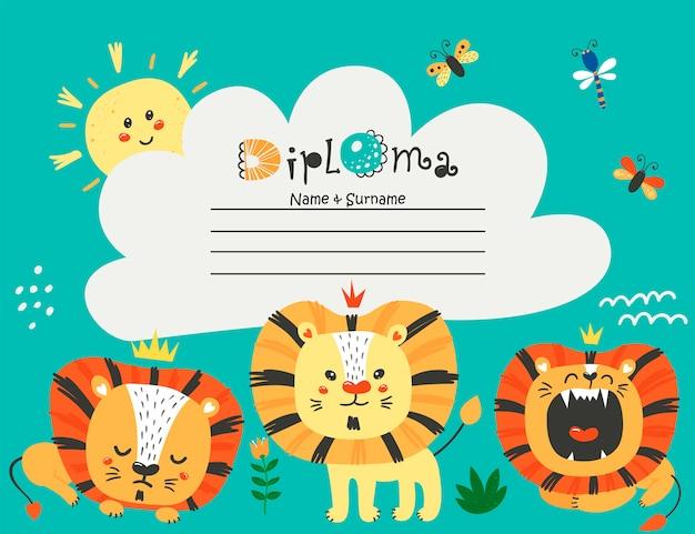 Plantilla de diploma con leones para niños