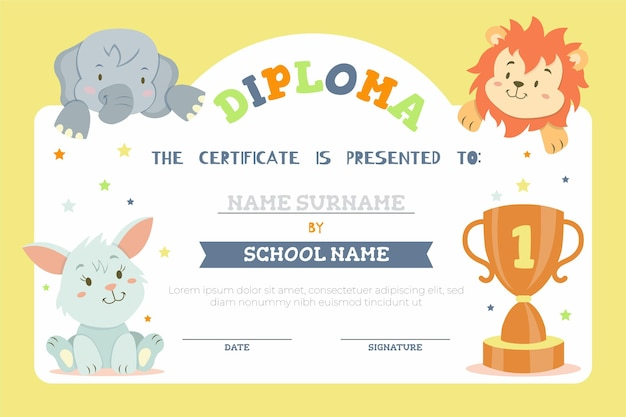 Plantilla de diploma para niños con animales de sabana