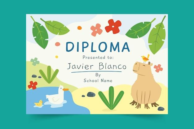Plantilla de diploma para niños con animales