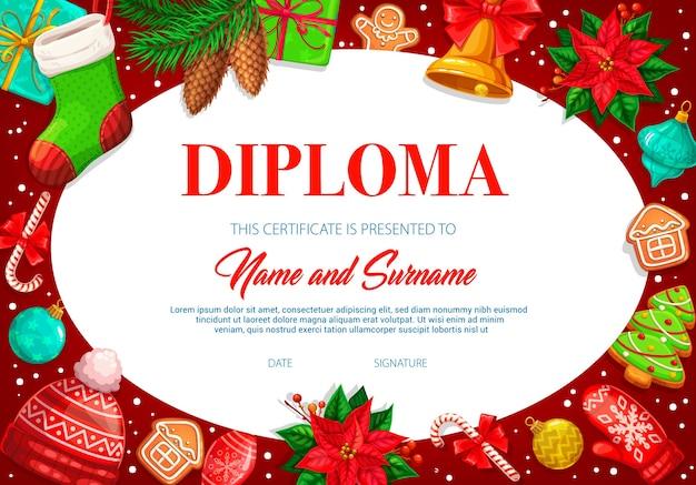 Plantilla de diploma de niños con calcetín de navidad