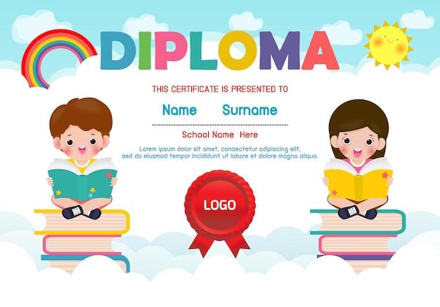 Plantilla de diploma para niños certificados de jardín de infantes y primaria.