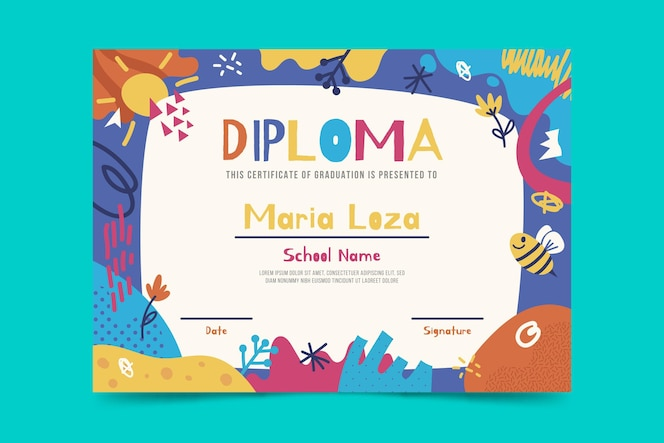 Plantilla de diploma de niños