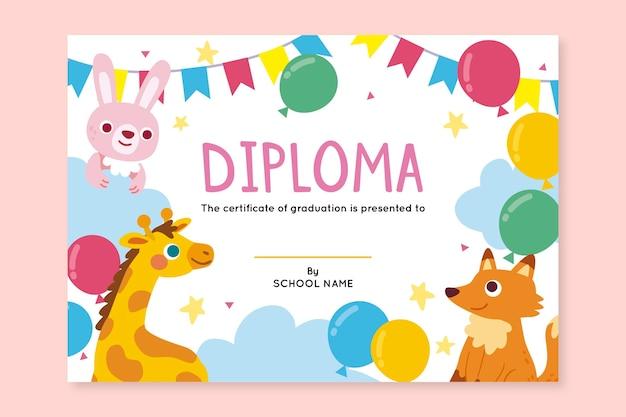 Plantilla de diploma para niños