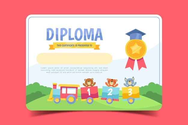 Plantilla para diploma de niños