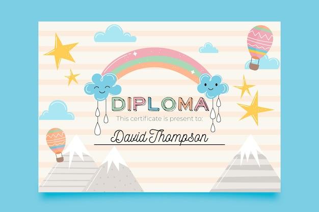Plantilla para diploma para niños