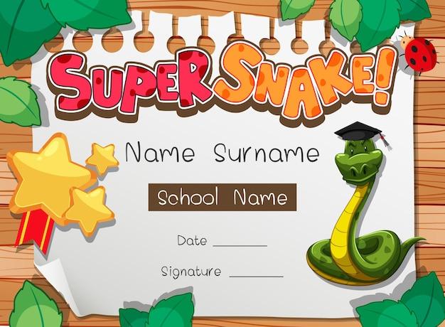 Plantilla de diploma o certificado para escolares con personaje de dibujos animados de super serpiente