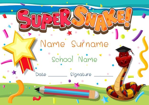 Plantilla de diploma o certificado para escolares con super serpiente