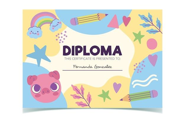 Plantilla de diploma para tema de niños