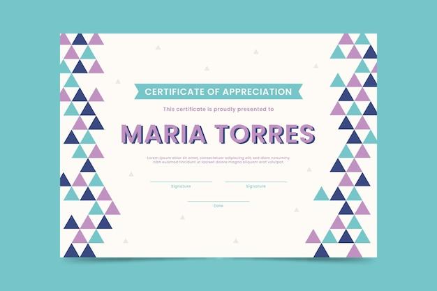 Plantilla de diploma con triángulos