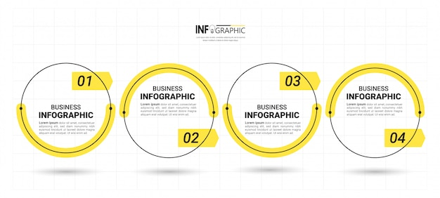 Plantilla de diseño de 4 pasos timeline infographics.