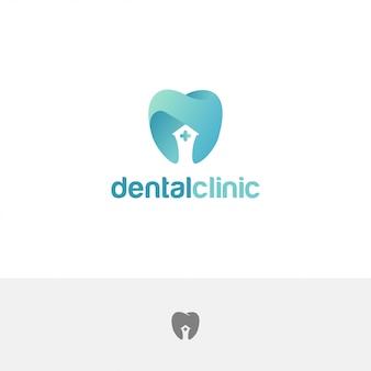 Plantilla de diseño abstracto de dientes de logotipo de clínica dental