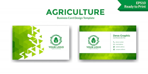 Plantilla de diseño abstracto verde tarjeta de visita